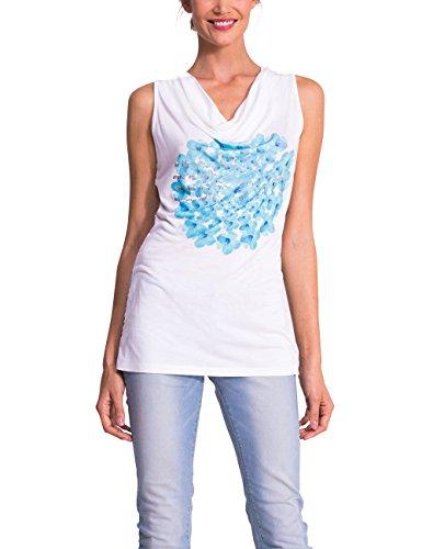 Desigual Saly - Débardeur - Empire - Imprimé - Col châle - Manches courtes - Femme Bleu (Tinta)