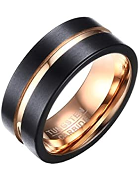 PAURO Herren Tungsten 8mm Ring Rose Gold Inlay Fuge Gebürstet Flach Geschnittenen Rand Comfort Fit