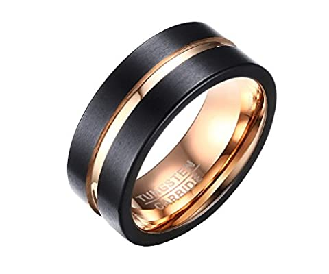 PAURO Men's Tungsten 8mm Ring Rose Gold Inlay Groove Brushed Flat Cut Edge Comfort Fit Size S