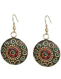 Kaizer Jewelry Handmade Lightweight Tibetan Hook Dangler Earrings for Women and Girls (Green Red)