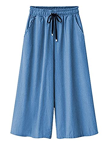 Women's Elastic Waist Wide Leg Cropped Capris Drawstring Denim Culottes