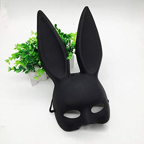JUNXI Mädchen Sexy Hasenohren Maske Nettes Häschen Lange Ohren Bondage Maske Halloween Maskerade Party Cosplay Kostüm Requisiten Party Masken Wildleder