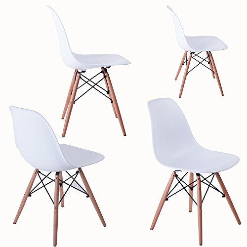 BTM Dining Chairs High Quality Retro Designer Style Eiffel Lounge Dining Chair X4 (White)