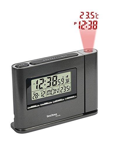 Technoline Projektionswecker WT 519 mit Funkuhr, Innentemperaturanzeige und Datumsanzeige (schwarz mit Batterien)