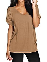 Camiseta ancha para mujer, con escote de pico y mangas tipo murciélago, tallas 36 - 44