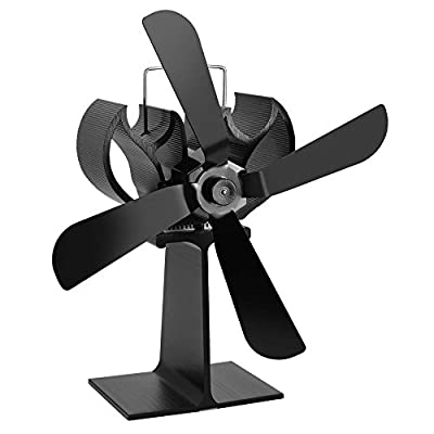 JOYOOO 4-Blade Heat Powered Stove Fan Fireplace Fan,for Log Burner Fan Wood Log Burner/Coal Burner / Wood Stoves , Solid Fuel, Gas Stove Fan,Eco-Friendly Economical Quiet Operating Fireplace Fan Black