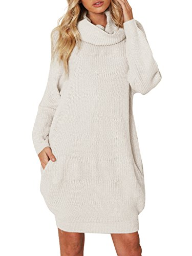 Simplee Apparel Damen Winter Kleid Elegant Lose Langarm Oversize Rollkragen Strickkleid Knielang Kleid mit Taschen Beige