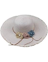 Bobury Koreanische Art Frauen Stroh Panama Cap-M/ädchen-b/öhmische Kleid Hut Sommer Outdoor-Outing Angeln Breath Sun Cap