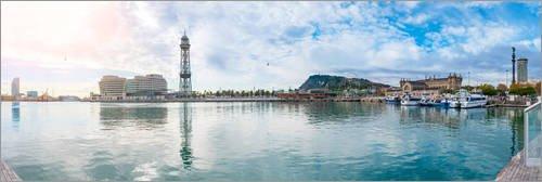 Poster 180 x 60 cm: Barcelona Port Vell von Editors Choice - hochwertiger Kunstdruck, neues Kunstposter (Port-spiegelung)