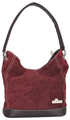 LiaTalia echte italienische Wildledertasche mit einem Griff mittelgröße Schaufeltasche mit Schutz-Aufbewahrungstasche - Denise Tiefrot