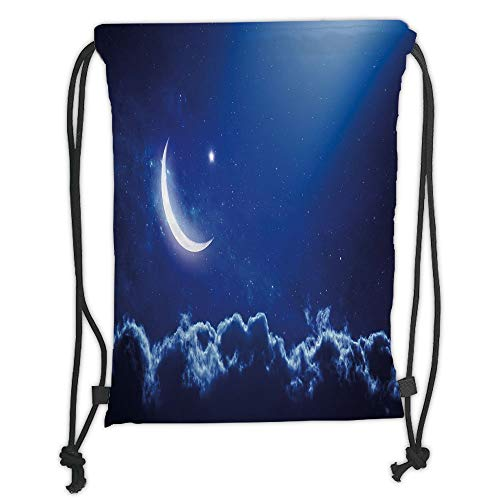 Drawstring Backpacks Bags,Night,Crescent Moon in Dark Blue Sky with Vibrant Stars Celestial View Midnight Image Decorative,Royal Blue White Soft Satin,5 Liter Capacity,Adjustable S