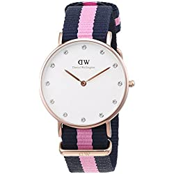 Daniel Wellington Women's Quartz Watch with White Dial Analogue Display and Multicolour Nylon Strap 0952DW