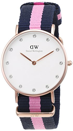 Daniel-Wellington-Womens-Quartz-Watch-with-White-Dial-Analogue-Display-and-Multicolour-Nylon-Strap-0952DW