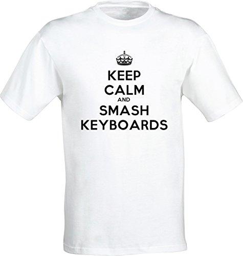 Keep Calm And Smash Keyboards Uomo T-shirt Bianco Cotone Girocollo Maniche Corte White Men's T-shirt