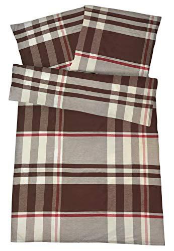 Carpe Sonno Kuschelige Biberbettwäsche 155 x 220 cm Braun Creme Karo Winter-Bettwäsche mit Reißverschluss aus 100% Baumwolle Flanell - 2-TLG Bettwäsche Set mit Kopfkissen-Bezug - Karo-flanell-bettwäsche