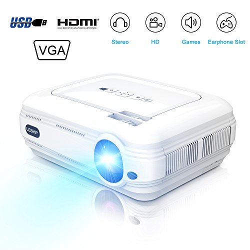 LESHP Mini Projektor, 3200 Lumen LCD Beamer 1920*1080 Tragbare LED Projektor Unterstützung Multimedia HDMI USB für Heimkino Unterhaltung Spiele für Heimkino TV Laptop-Spiel iPhone Andriod Smartphone(Weiß)