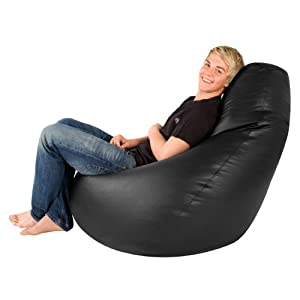 Hi-BagZ® GIANT High Back Bean Bag Chair - XXXL Gaming Bean Bags Faux Leather BLACK