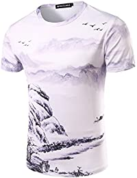 YCHENG Moda Camisetas para Hombre Manga Corta 3D Digital Colorido Impresion Playa T-shirt