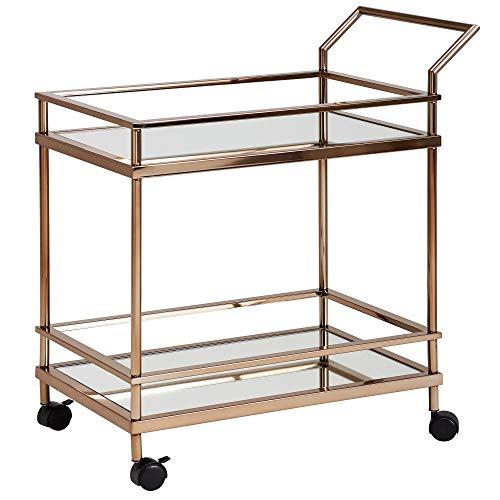 Wohnling Design Servierwagen Dunkles Gold 2 Ebenen mit Bremsen | Beistelltisch auf Rollen mit Glasplatte Speisewagen | Küchenwagen | Teewagen