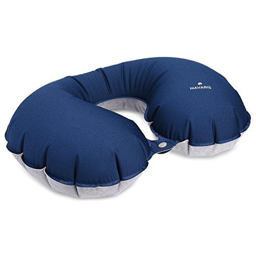 Navaris Almohada de Viaje Inflable - Almohada Cervical Suave para inflar - Cojín de Descanso para Cuello - Travel Pillow ergonómica en Azul Oscuro