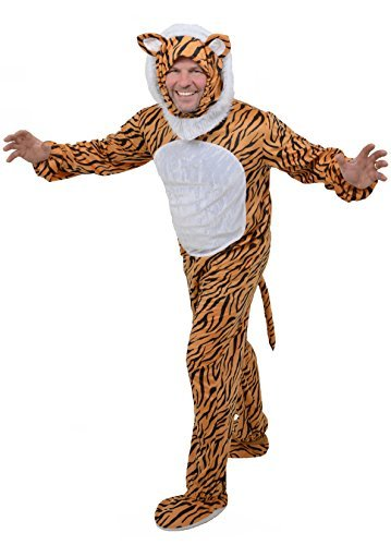 Herren Erwachsene Tiger Fancy Kleid Animal Jungle Kostüm Einteiler – One Size