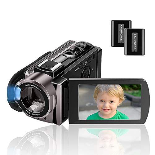 Camcorder Kenuo Full HD Videokamera 1080P 24MP 30PFS Digitalkamera für YouTube 16X Digitalzoom 3.0 \'\' LCD 270 Grad Drehbildschirm mit 2 Batterien