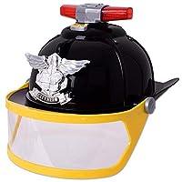 TE-Trend Children Fire Helmet Fireman Helmet Cap Visor Light Sound Black Fancy Dress Accessory Toy