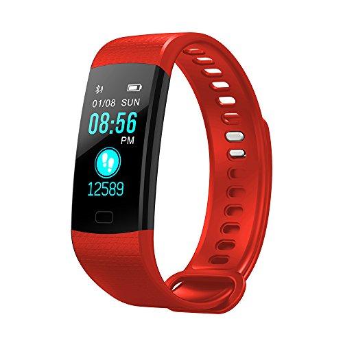 BZLine Bluetooth Smartwatch, Smart Watch Uhr Intelligente Armbanduhr Fitness Tracker Armband Sport Uhr mit Herzfrequenz Aktivität Schrittzähler Blutdruckuhr für Kinder Frauen Männer (Rot)