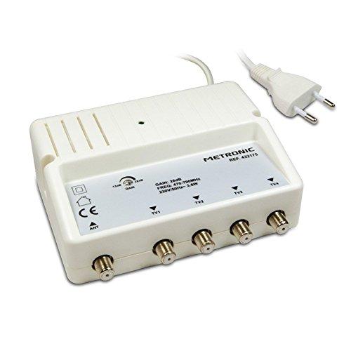 METRONIC Amplificateur répartiteur UHF avec réglage de Gain Blanc (4 Sorties F blindé 28dB)