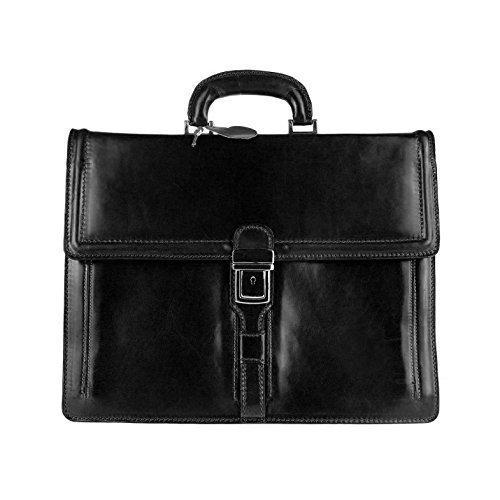 Made in italy sac à bandoulière en cuir unisexe sacoche à bandoulière pour ordinateur portable de format a4, sac à main femme 39 x 28 x 15 cm (l x h x p) Noir triple