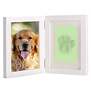 """White Personalized Dog or Cat Pet Memorial Frame Paw Prints Desk Photo Frame Modern Wall Hanging Double Picture Frames with Clay Imprint Kit Perfect Pets Keepsake - 5"""" x 7"""" or 4"""" x 6"""""""