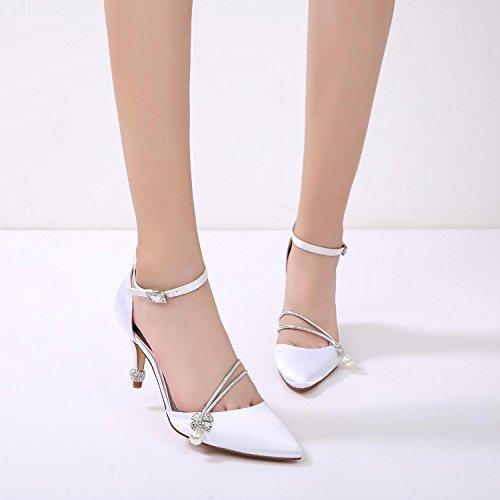 L @ yc Chaussures De Mariage Des Femmes 17767-29 Basculant Chaussures De Base Été Cône Talon Fermé De Mariée Et De Soirée En Ivoire