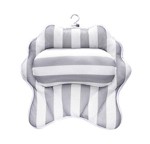 Liveinu Badewannenkissen Luxus Wannenkissen Bad Kissen mit Saugnäpfen Rutschfeste Antibakteriell Nackenkissen für Kopf Nacken Rücken 40x40cm Muschel (Luxus-bad-kissen)