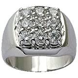 Pure Sterling Silver Mens Ring with CZ crystal stones by BodyTrend - Weight shown is approximate weight +/- 1g