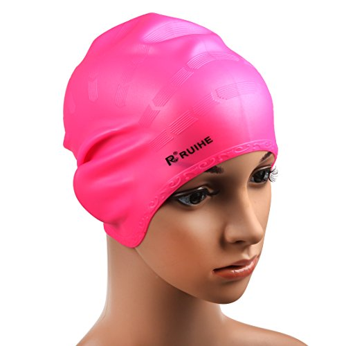 Andux Zone Erwachsene Badekappe Lange Haare Silicone HEYM-01 (pink)