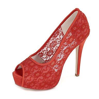 Wuyulunbi@ Scarpe donna Lace Primavera Estate della pompa base scarpe matrimonio Stiletto Heel Peep toe per la festa di nozze & Sera Nero Rosso Rosa Blu Rosso