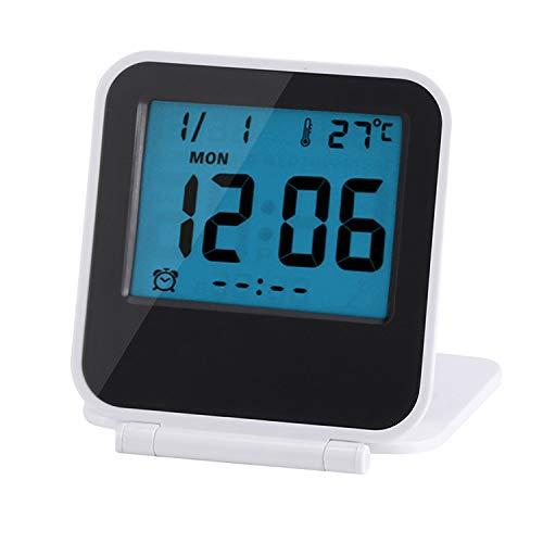 Preisvergleich Produktbild zusammenklappbar Wecker Tragbar Ultra Slim Design Reise Tabletop Digital Wecker mit temperaturanzeige Kalender Datum Woche weiß