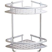 Rinconera de baño Multiply-X, estante para ducha de aleación de aluminio anodizado, con 2 estantes, montaje en pared, capacidad para jabón, champú y limpiador facial