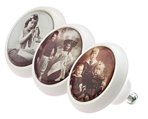 Designer Möbelknopf Set 0502 Vintage Nostalgie Frauen Hüte Portait 20er Jahre 3er Keramik mit moderner kuppelförmiger Oberfläche in glänzender edler Glas Optik in verschiedenen Designs und Farben Möbelknöpfe - Swami Designer Factory