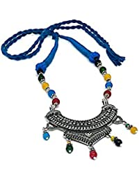 Go Oxidised German Silver/Fashion/Antique Jewellery Blue Necklace Set For Women And Girls