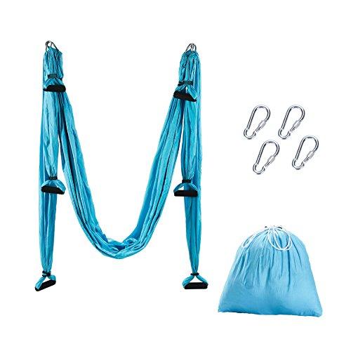 Aerial Yoga Swing Air Fliegen Yoga Hängematte Silk Hammock Yoga Schaukel Fitness Anti Schwerkraft Anti Gravity Schwingen mit 180kg/400 lbs Belastung (blau)
