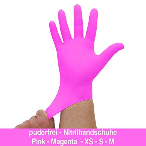 Nitrilhandschuhe kräftiges Pink Magenta, Einmalhandschuhe, Einweghandschuhe, 100 Stück, Größe M
