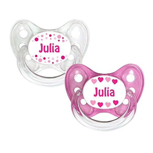 Dentistar® Silikon Schnuller 2er Set inkl. 2 Schutzkappen - Nuckel Größe 1 von Geburt an, 0-6 Monate - zahnfreundlich und kiefergerecht | Julia