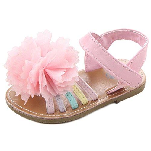 Culater®I pattini dei capretti delle ragazze dei primi camminatori del bambino dei sandali del fiore del bambino Rosa