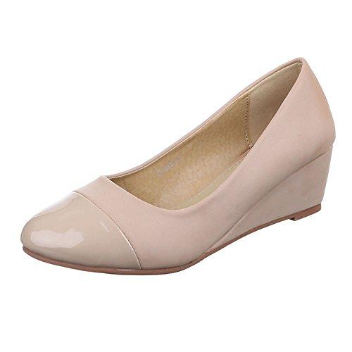 Ital-Design Damen Schuhe, 6158-1, Pumps, Keil Wedges, Synthetik in Hochwertiger Lederoptik und Lacklederoptik, Beige, Gr 38