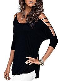 LAEMILIA Femmes T-Shirt Eté Casual Manches Courtes Epaule Nu Tunique Chemise Blouse