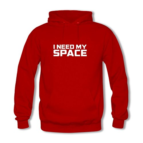 HGLee Printed Personalized Custom I Need My Space Women's Hoodie Hooded Sweatshirt Red