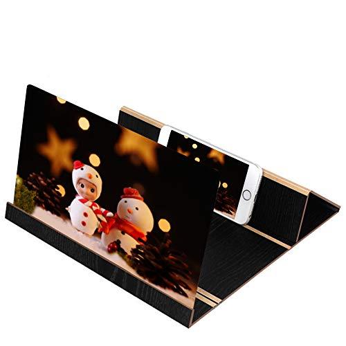 Handy Bildschirm Lupe , 12 Zoll Smartphone Vergrößerungslupe Portable Handy Bildschirm 3D zusammenklappbar Verstärker Vergrößern Ständer Handy Projektor for Samsung for iPhone Gift (Schwarz)