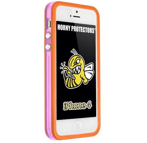 Horny Protectors Bumper con bottoni in metallo per Apple iPhone 4(non 4S) rosa / arancio trasparente