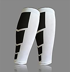 White, L : 1 Pair Shin Guards Soccer Football Protective Leg Calf Compression Sleeves Cycling Running Sports Safety Football Basketball